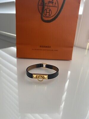 AU350 • Buy Hermes Micro Rivale Black Leather Gold Hardware Bracelet