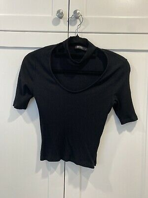 AU9 • Buy Bershka Black Womens Cropped Tshirt Size S Womens