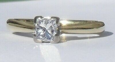 £425 • Buy 18ct Gold Princess Cut Solitaire Diamond Engagement Ring Yellow Gold Size K 1/2