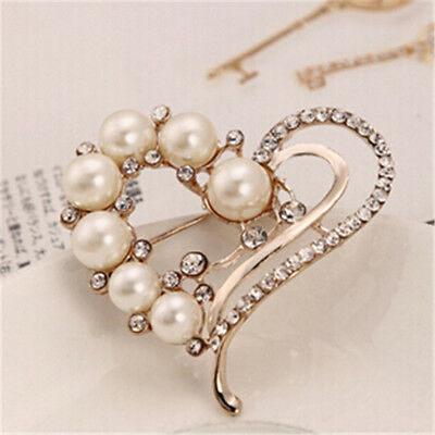 Heart Crystal Imitation Pearls Brooch Women Wedding Dress Accessories TO • 1.97£