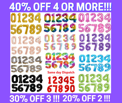 Giant Foil Number Balloons Air Helium Happy Birthday Age Party Wedding 32  40  • 3.99£