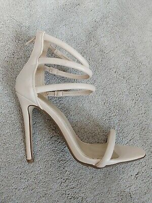 Ladies Shoes Size 4 Strappy Heels Beige Misguided Barely There Summer... • 1.99£