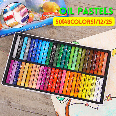 Artist Oil Pastels Set 12, 25, 48 Assorted Colors Pencil Crayons Drawing  H • 12.29£