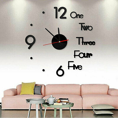 3D Large DIY Wall Clock Mirror Sticker Luxury Roman Number Art Home Decor Room • 6.37£