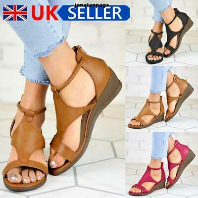 UK Womens Summer Low Wedge Heel Sandals Ladies Back Zip Open Toe Shoes Size 4-7 • 8.99£
