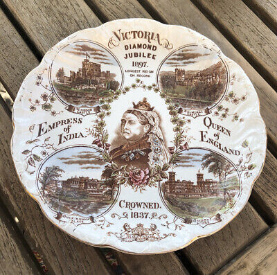 Large Antique Queen Victoria Empress India Diamond Jubilee Plate 1897 • 19.99£