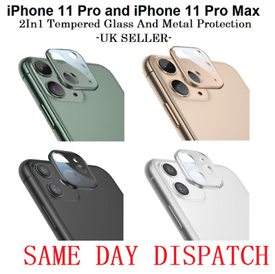 IPhone 11 Pro Max Full Lens Cover Tempered Glass Metal Rear Camera Protection UK • 2.99£