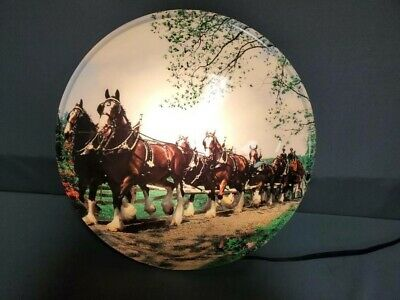 $ CDN231.21 • Buy Vintage Budweiser Clydesdales Lighted Sign - RARE GUC Beautiful