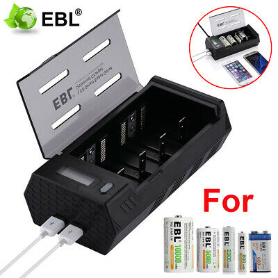 EBL LCD Smart Charger 2 USB For AA AAA C D 9V Ni-MH Ni-CD Rechargeable Batteries • 15.59£