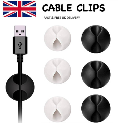 £2.59 • Buy Cable Clips Tidy Cord Lead Organiser USB Charger Holder Drop Black Or White UK