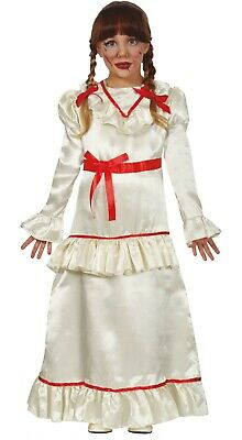 Kids Annabelle Costume Scary Child Evil Doll Girls Halloween Fancy Dress Outfit • 18.99£