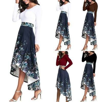 Women Floral High Low A-Line Midi Dress Long Sleeve High Waist Swing Shirt Dress • 12.15£