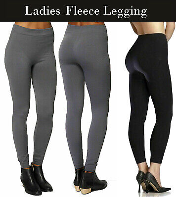 Ladies Women's Black  Fleece Lined Stretch Thermal Thick Warm Winter Leggings • 4.99£