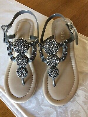 NEW With Tag Ladies HOLSTER SilverGrey Embellished Slingback Wedge Sandals 38/5  • 9.90£