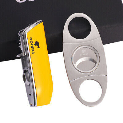 Cigar Torch Lighter Triple Jet Flame Torch Lighter W/ Punch And Cigar Cutter Set • 20.99£
