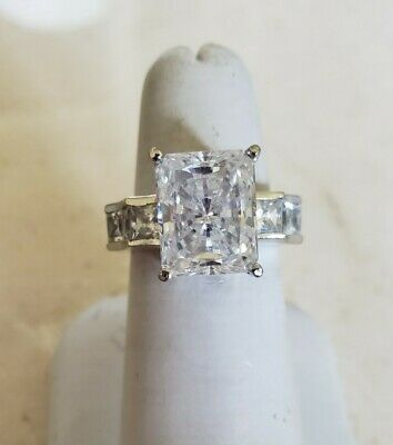 $99 • Buy Sterling Silver Cubic Zirconia Wedding Ring 4ct Emerald Cut Solitaire Side Stone