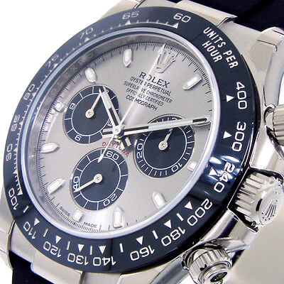$ CDN45722.02 • Buy Rolex Daytona 116519ln White Gold Steel Grey Silver Dial Rubber Oysterflex Strap