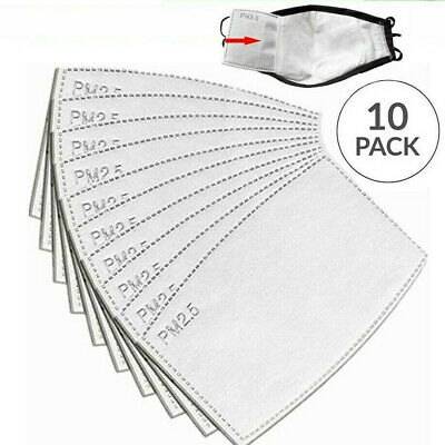 10 X PM 2.5 Filter For Face Masks Replacement Filters WITH FACE MASK UK Stock • 2.55£