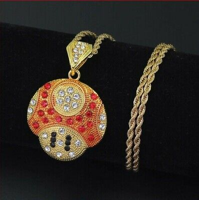 £9.99 • Buy Mario Toad Pendant & Gold Chain Necklace Iced Out Bling Shine Jewellery