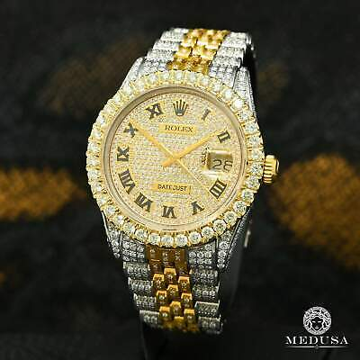 $ CDN16999.99 • Buy Rolex Datejust 36mm Jubilee 16.00CT Full Iced Out Roman Numerals 2-Tones 18K