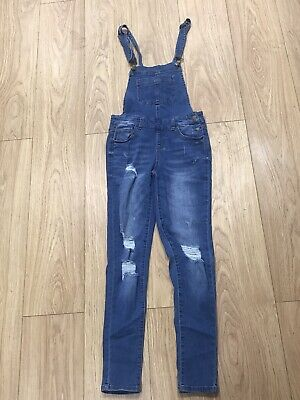Girls Dungarees Age 10 To 11 Years Wax Jeans Blue Denim B683 • 7.99£