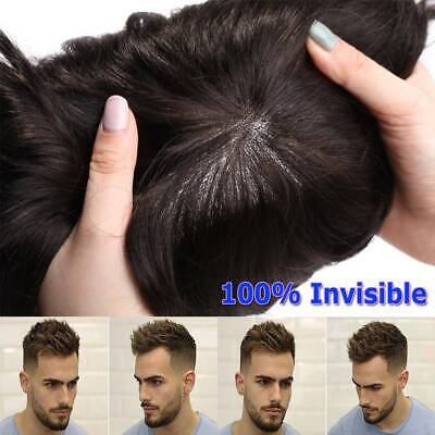 £31.61 • Buy Invisible Skin Mens Hair Replacement System Men Toupee Hairpieces Human Hair Wig