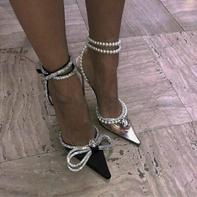 Shoes Sexy Temperament Sandals New Pointed Transparent Diamond Pearl High Heels • 50.91£