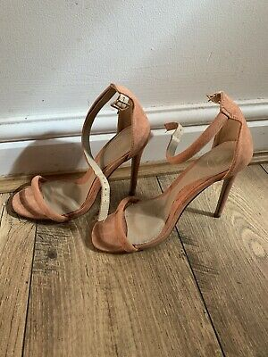 Missguided Shoes Peach High Heels Size 4 Party Thing Strap • 0.99£