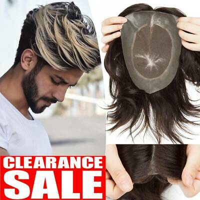 £27.48 • Buy French Lace Mens Toupee Hairpiece Human Remy Hair System Replacement Wig UK Ship