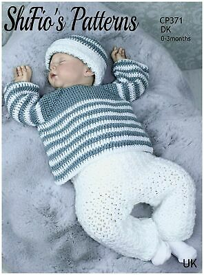 Crochet Pattern For Babies Jumper, Trousers And Hat Set, DK, UK Terms CP371 • 4.49£