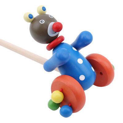 £7.06 • Buy Wooden Along Frog Bear Animal Push And Pull Along Trolley Cart Walking Toy TO