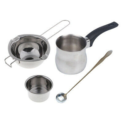 4pcs Stainless Steel Double Boiler Candle Wax Melting Pot& Mixing Spoon For Soap • 18.28£