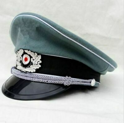 Repro WWII WW2 GERMAN ARMY ELITE OFFICER WOOL VISOR HAT MILITARY CAP SIZE M • 33.79£