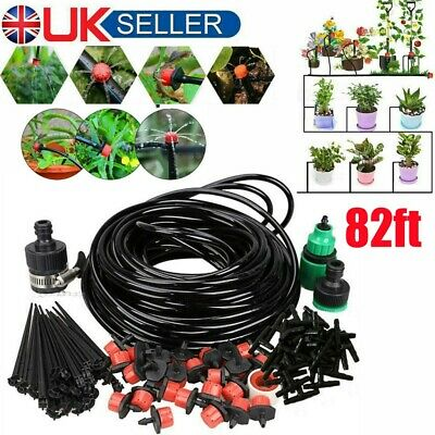 82ft Automatic Drip Irrigation System Kit Plant Water Self Watering Garden Hose • 9.89£
