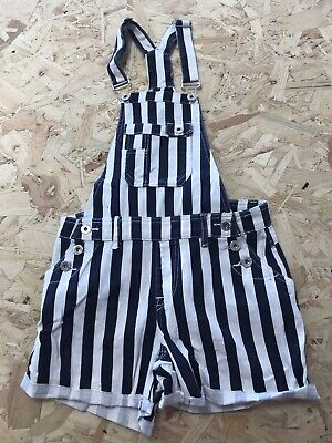 Girls Dungarees Shorts Age 12 To 13 Years Striped Denim B746 • 7.99£