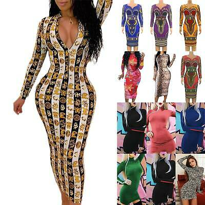 Women Floral Print Midi Party Bodycon Long Sleeve Clubwear Slim Fit Dresses UK • 8.26£