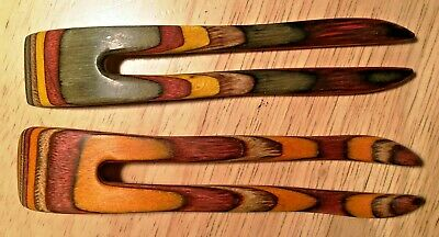 $8 • Buy A Lot Of 2, 2 Prong Wooden Hair Comb Forks, Hand Shaped Of Colored Hardwood