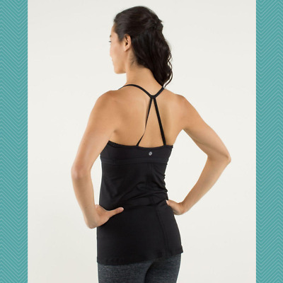 $ CDN33 • Buy Lululemon Black Luon Strappy Racerback Bend And Flow Tank | Women's 4