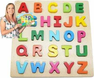 Wooden-Alphabet-Toddler Puzzles-Toys For 2 To 3 Year Old Kids With Bright Color  • 19.99£