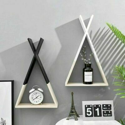 2X Nordic Style Kid Baby Wooden Trigon Triangle Storage Book Shelf Display Decor • 10.99£