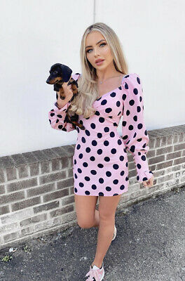 Pink And Black Polka Dot Dress Mini Fitted Puff Sleeves Ballon Sleeves Floaty • 22.99£