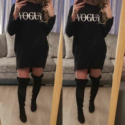 Ladies High Low Dip Vogue Slogan Jumper Women Baggy Oversized Shirt Dress Top • 13.90£