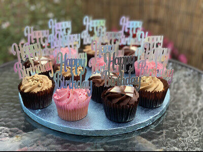 Happy Birthday Cupcake Toppers, X6 X12 Glitter Card, Foil Card • 2.99£