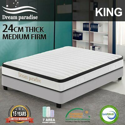 AU185 • Buy Bed Mattress QUEEN Size Pocket Spring Foam Medium Firm *DREAM PARADISE