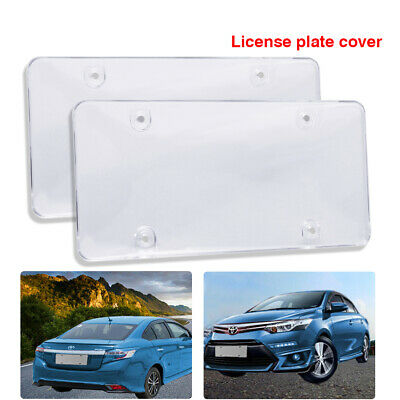 $12.99 • Buy 2x Clear Flat License Plate Cover Shield Tinted Plastic Tag Smoke  Protector