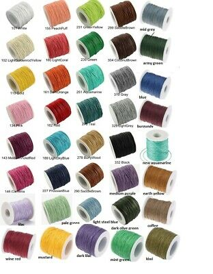 £3.10 • Buy Waxed Cotton Cord 1mm,1m-84m Jewellery Making&Bracelet Necklace Craft✅FASTPOST🚚