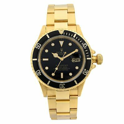 $ CDN27866.71 • Buy Rolex Submariner 18k Yellow Gold Black Dial Automatic Mens Watch 16618