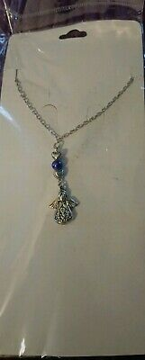 Silver Tone Angel Charm With Purple Acrylic Bead June Birthstone Necklace • 3£