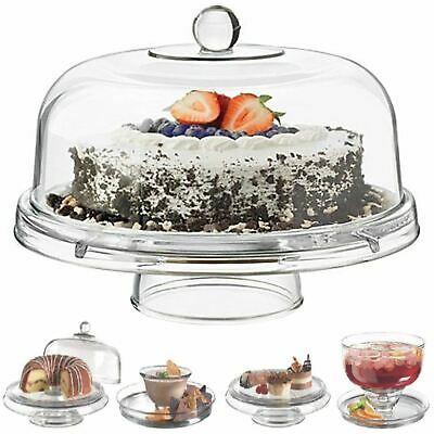 £15.99 • Buy Multi Functional 6in1 Clear Cake Stand Dome Platter Dip Server Punch Salad Bowl