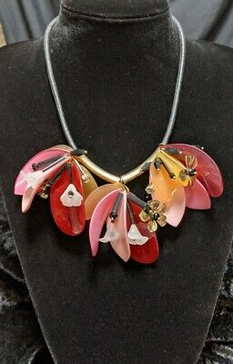 AU15 • Buy Vibrant Colourful Resin Flowers & Leaves Necklace  .Y43